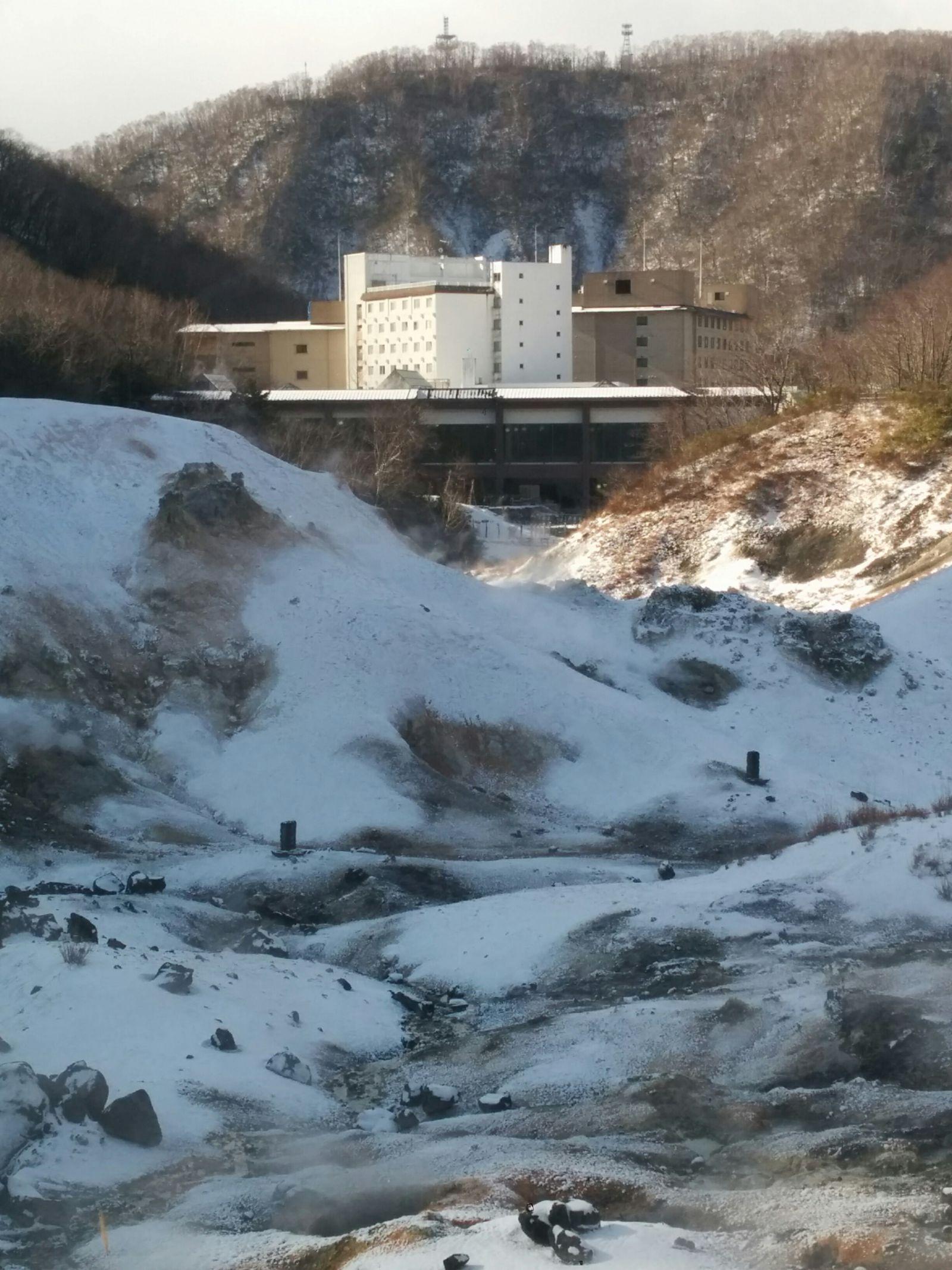 【登別温泉】雪の地獄谷観光案内です。