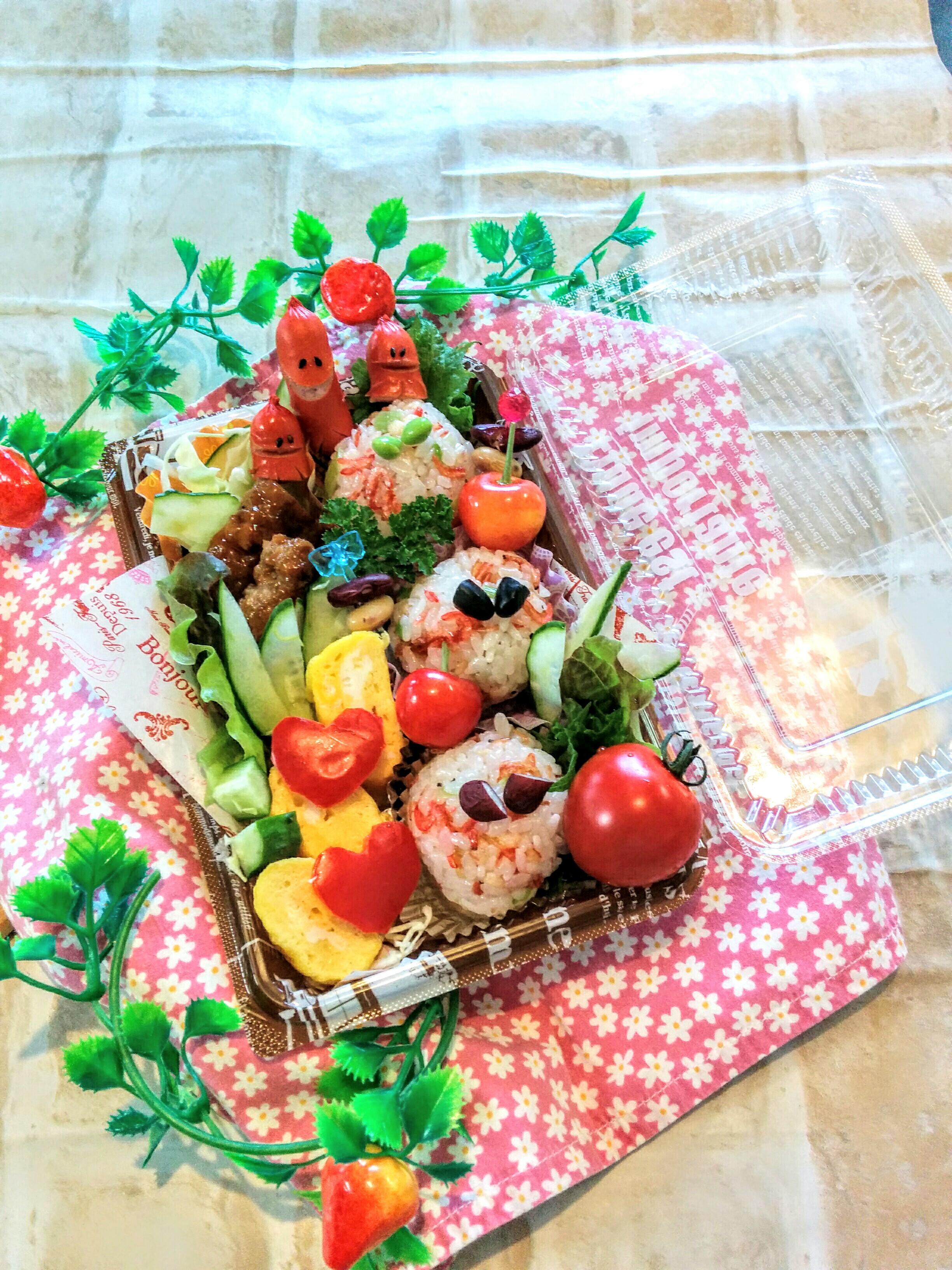 【小樽】娘の今日のお弁当・干しエビと天かす入りお握り弁当グルメ案内です。