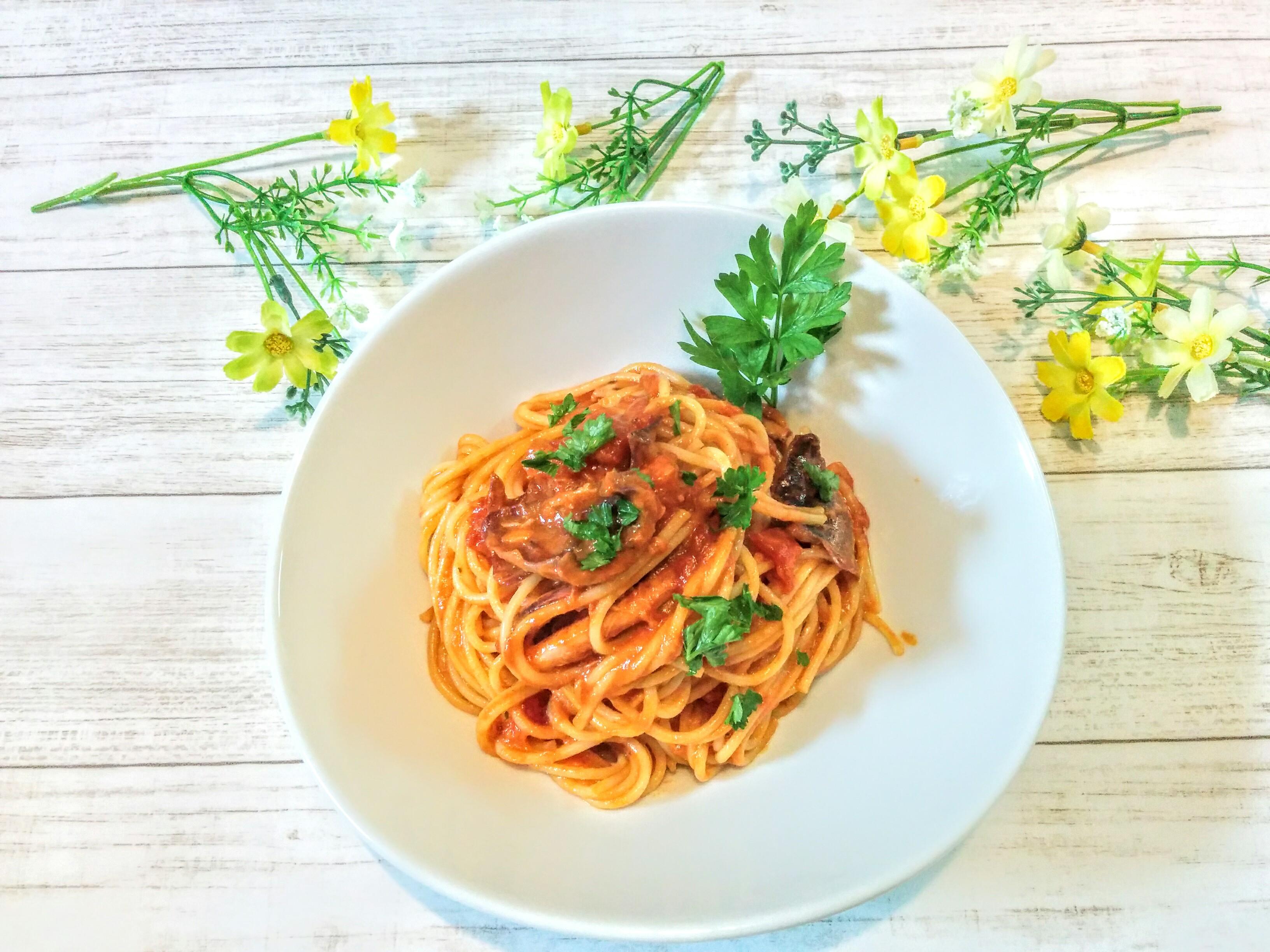 【小樽】お家御飯・ツナとトマトのクリームスパゲッティグルメ案内です。