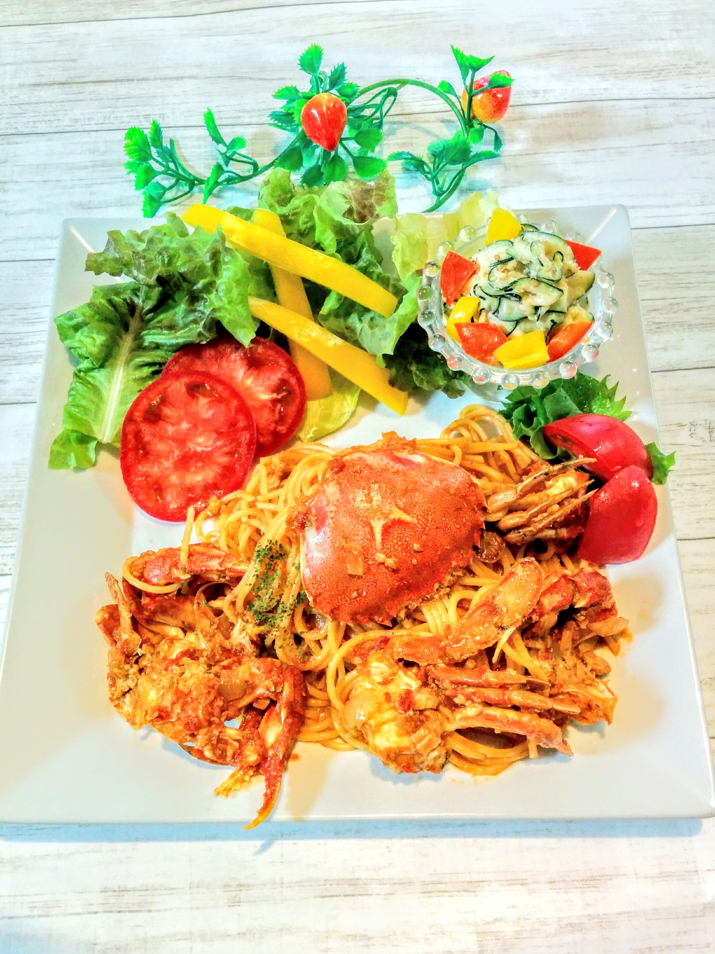 【小樽】お家御飯・ヘラ蟹のトマトクリームパスタグルメ案内です。