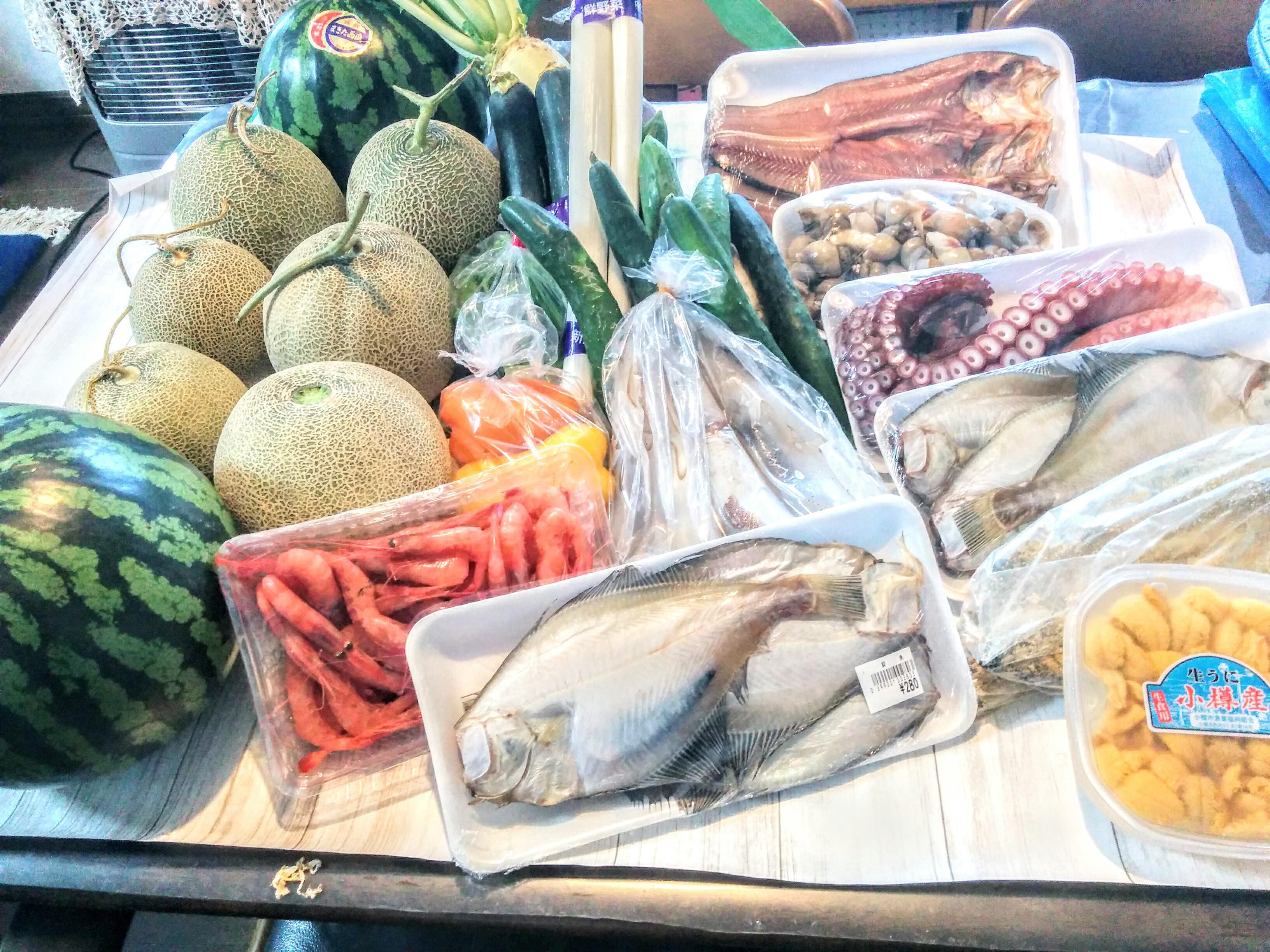 【余市~キロロリゾート赤井川村】余市で海産物~キロロリゾート赤井川村農家直売所で農産物を買って来ました。