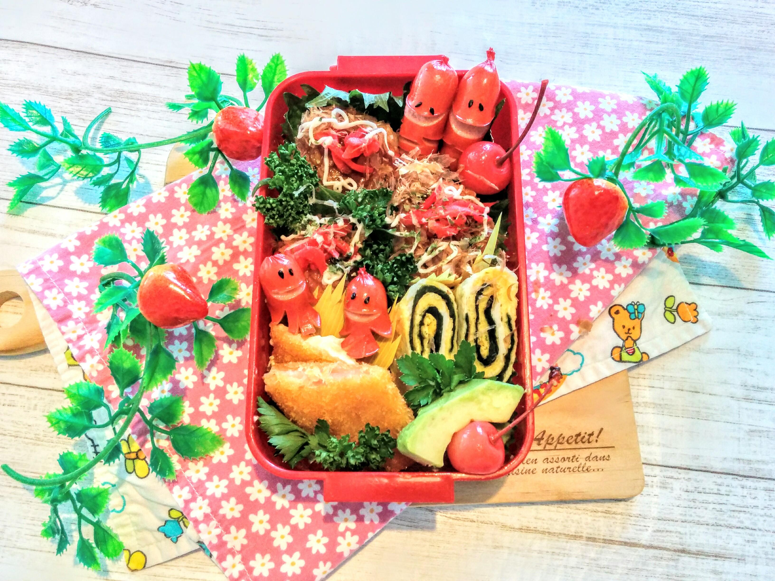 【小樽】娘の今日のお弁当・タコ焼き風焼きお握り弁当グルメ案内です。
