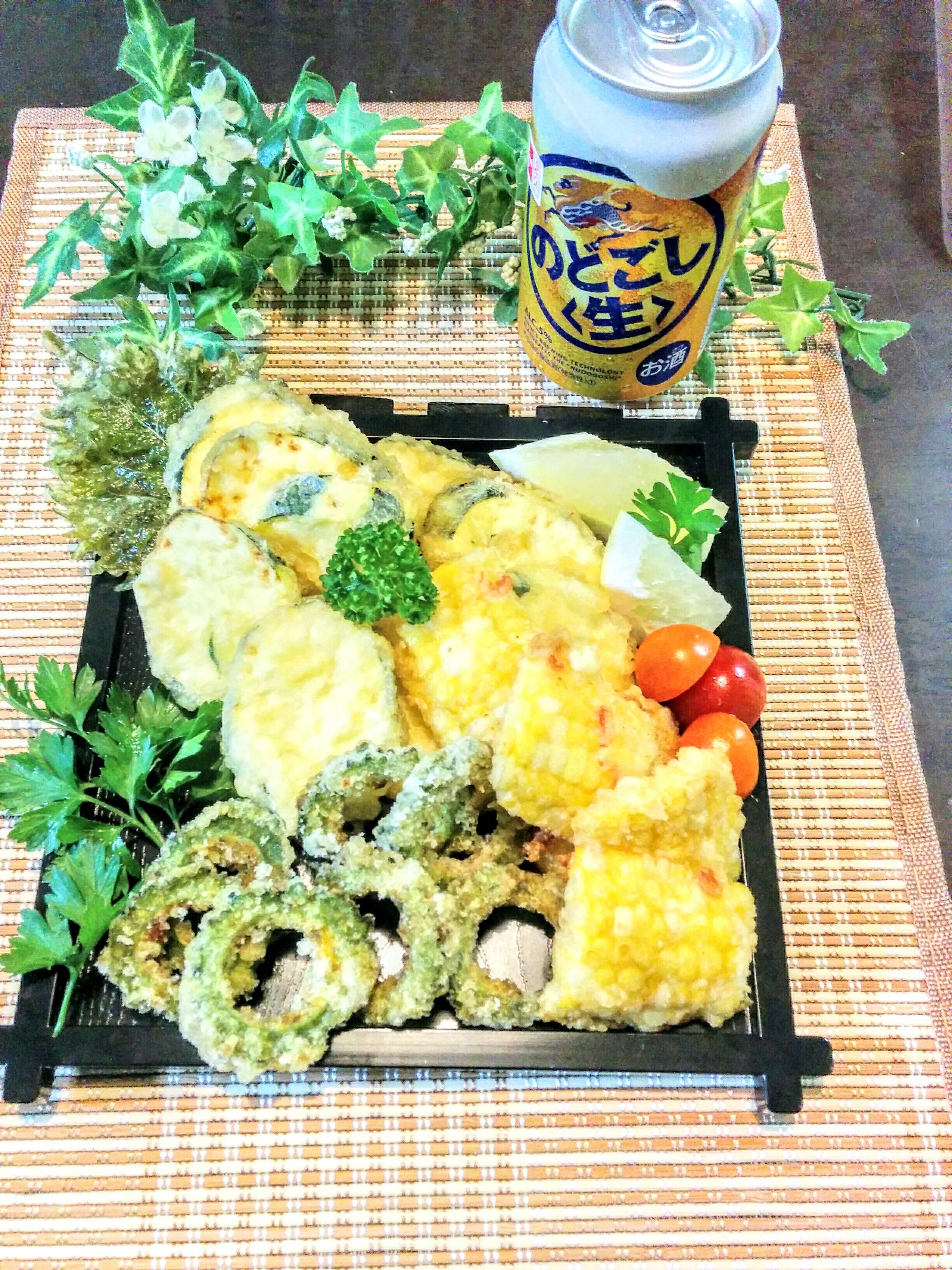 【小樽】お家御飯・ズッキーニとトウモロコシの天婦羅グルメ案内です。