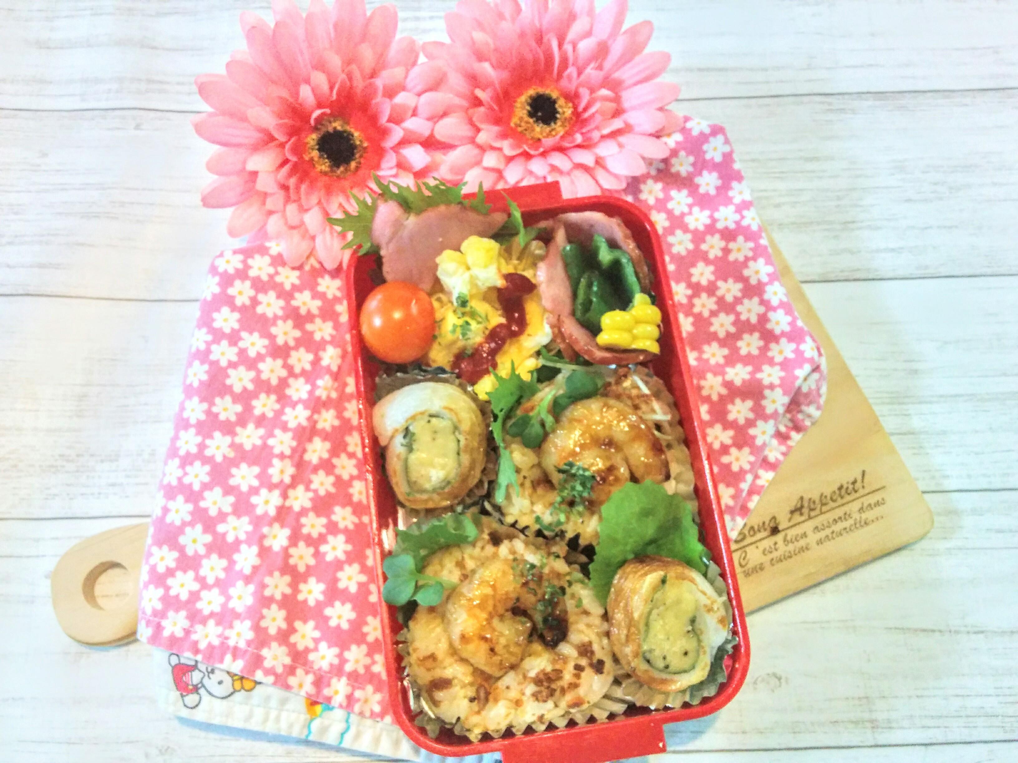 【小樽】娘の今日のお弁当・ラー油とりそぼろ焼きお握り弁当グルメ案内です。