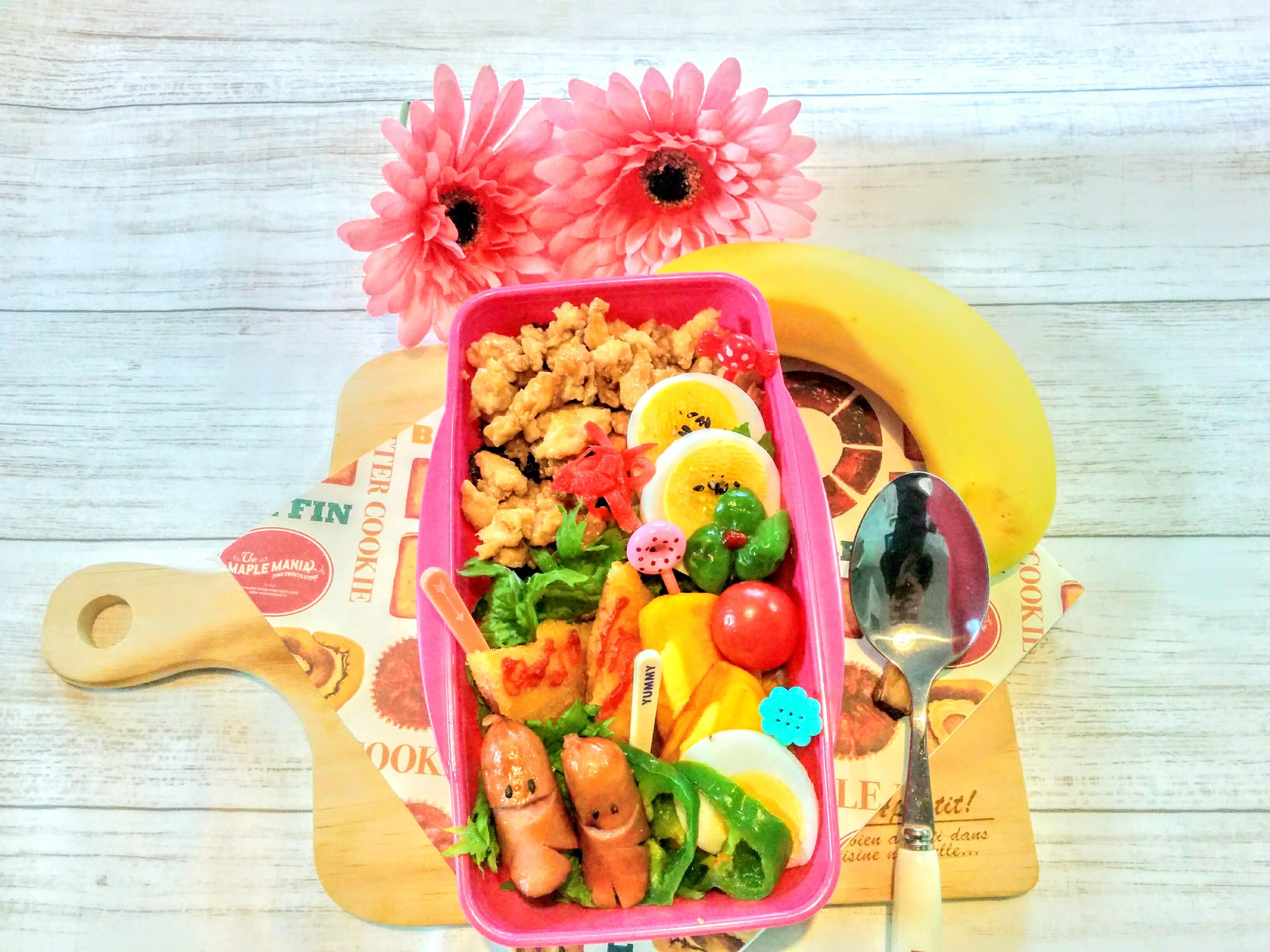 【小樽】娘の今日のお弁当・鶏そぼろ弁当グルメ案内です。