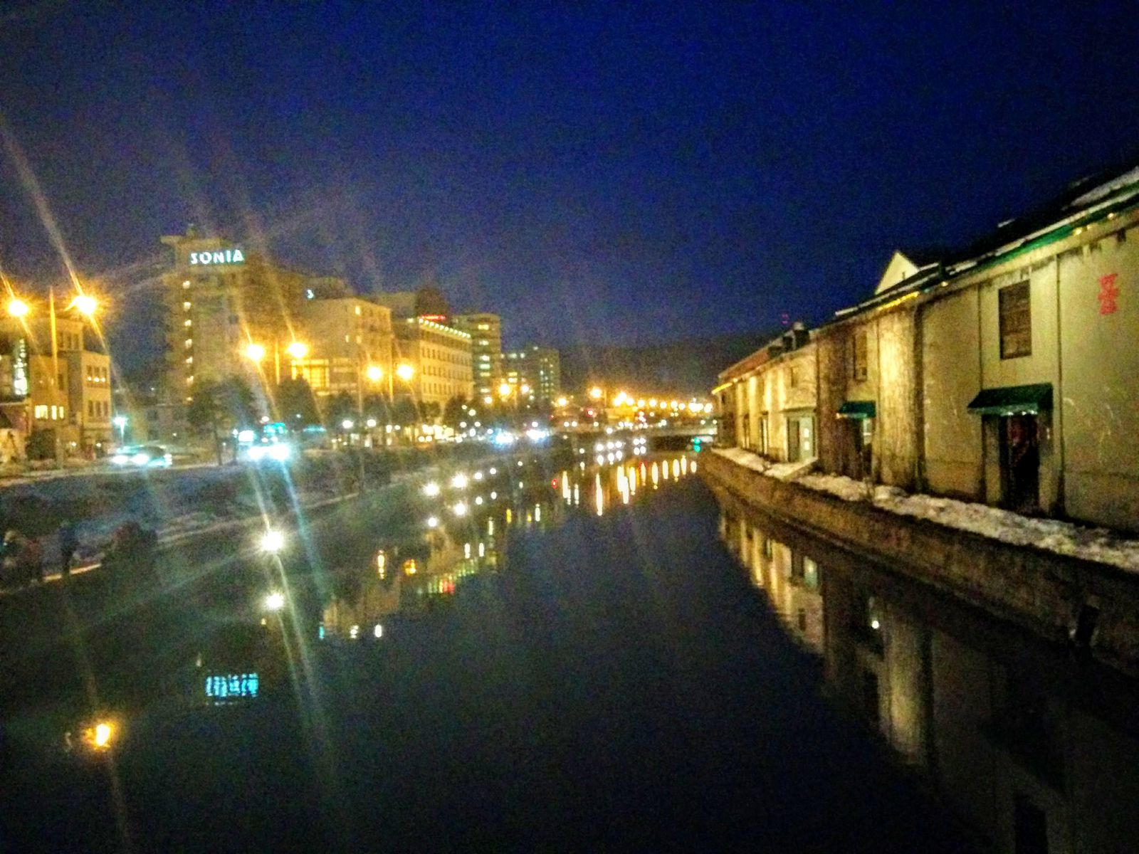 【小樽観光タクシー】冬の夜の小樽運河観光案内です。