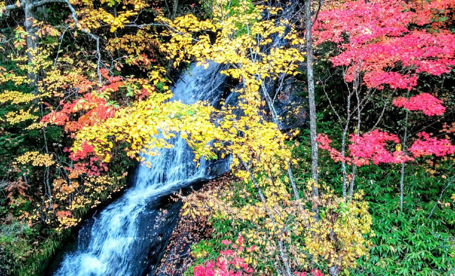 恵庭市三段の滝の紅葉写真です。